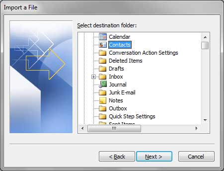 Outlook Window - Select destination Outlook folder to import Contacts