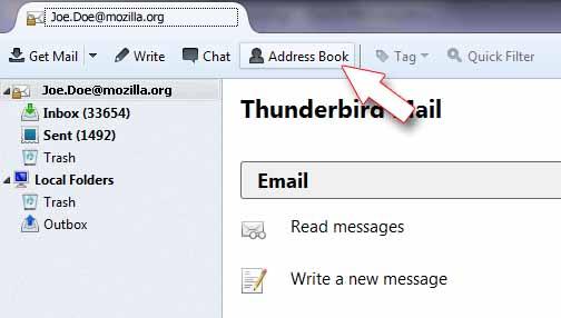 Thunderbird - address book menu item