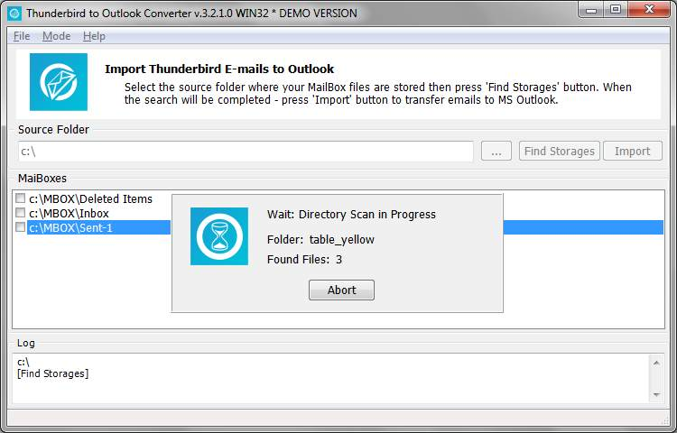 Thunderbird to Outlook Converter finds where Thunderbird stores emails